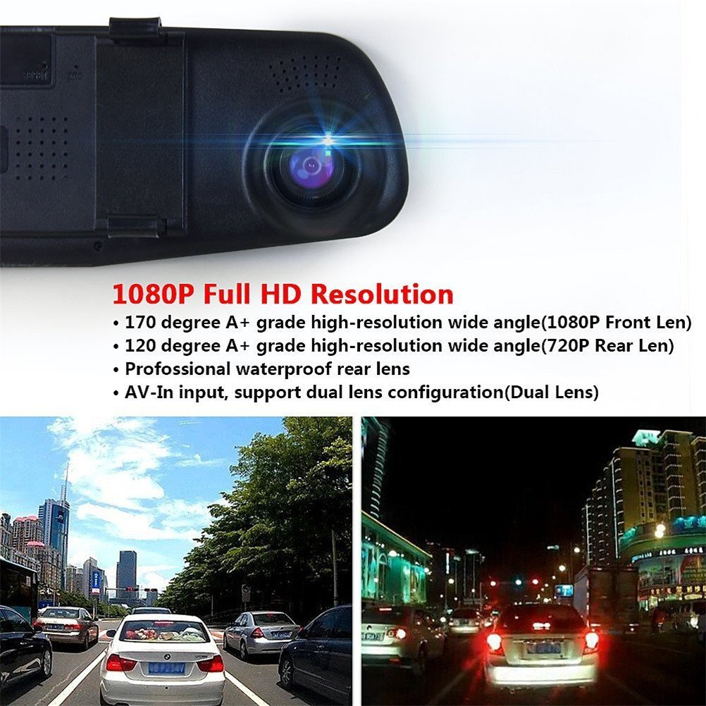 Soter Car Video Recorder Camera with Dual Lens for Vehicles Front /& Rearview Mirror Car DVR Camera 1080P FHD with 32G Class 10 Kinston Micro SD