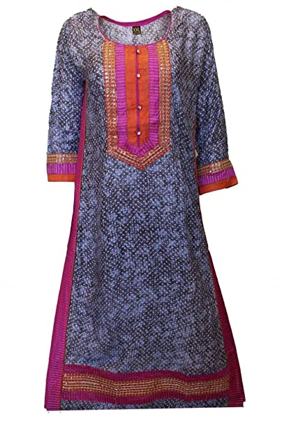 KUR3038 Top gris y rosa de Kurti, túnica hindú Indian Bollywood Kurti Top Medium (