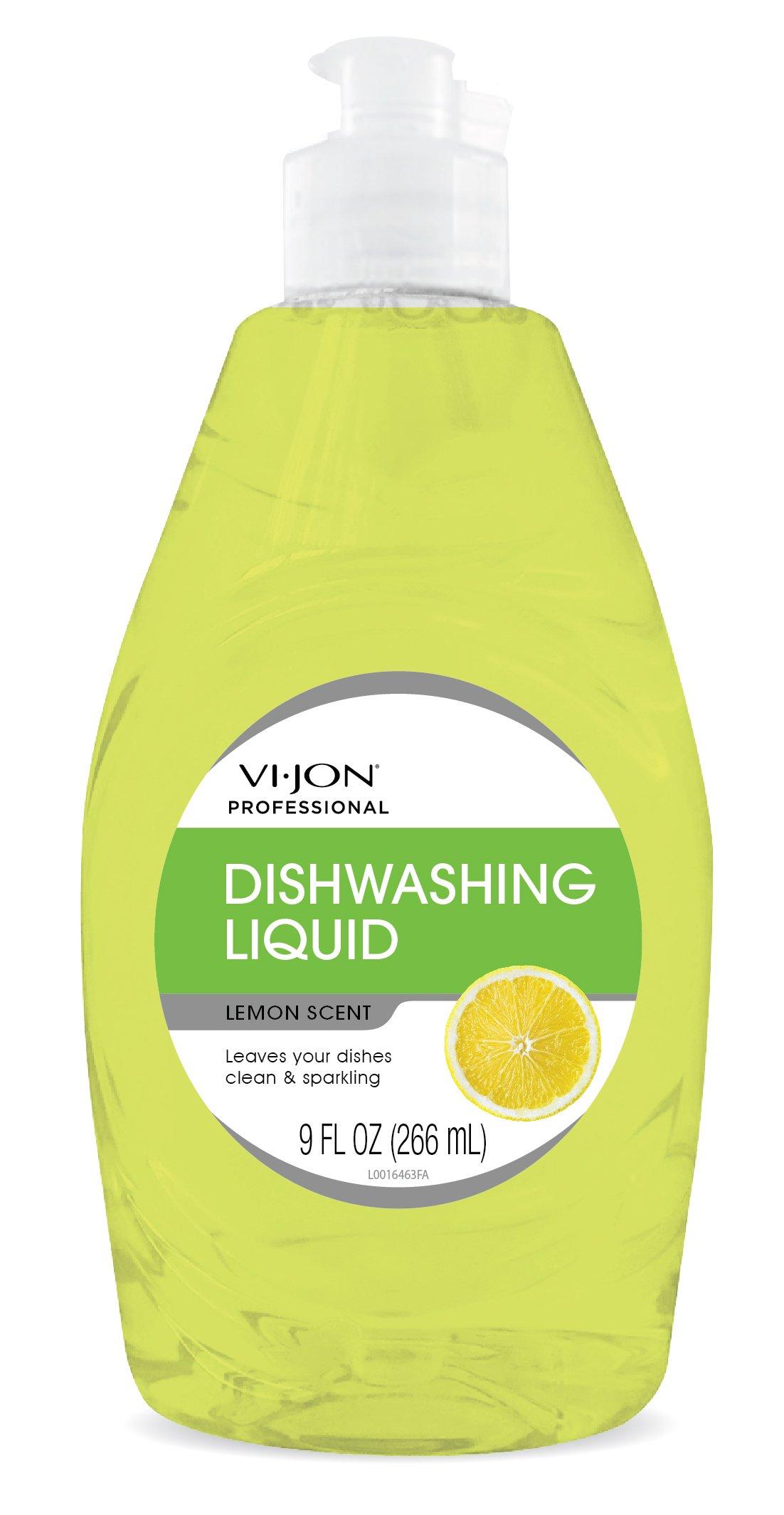 Vi-Jon Professional 1000044784 Lemon Liquid Dish Soap, 9 oz, 33.06 fl. oz. (Pack of 6)