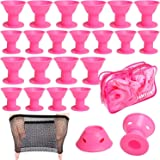 40 Pcs Pink Magic Hair Rollers,Include 20pcs Large Silicone Curlers and 20pcs Small Silicone Curlers