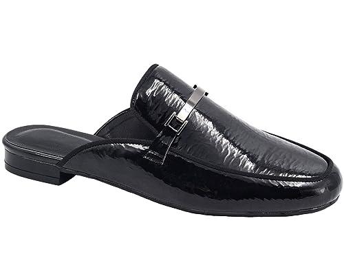 Greatonu Mocasines Punta Redonda Diseño Casual Cómodo para Trabajo Negro Charol para Mujer Talla 40 EU: Amazon.es: Zapatos y complementos