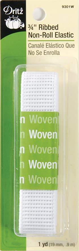 Dritz 9305W Ribbed Non-Roll Woven Elastic White 1//2-Inch by 1-Yard