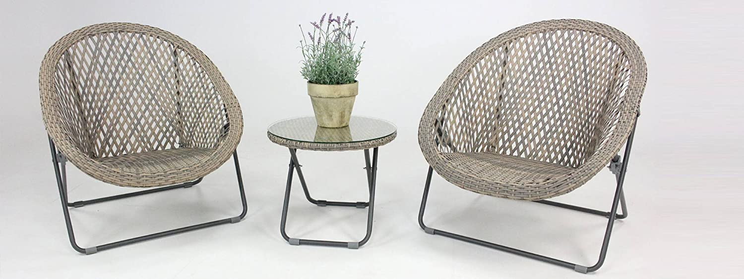 Eazilife faux rattan folding garden bistro lounge set with matching glass top coffee table 2 chairs clay grey amazon co uk garden outdoors