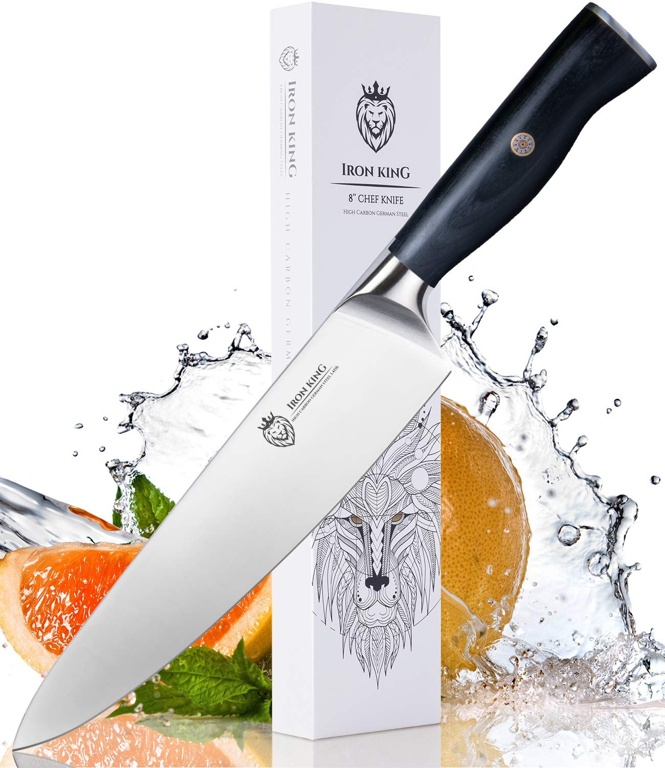 High Carbon Steel Chef Knife | Razor Sharp Kitchen Knife with Unique Ergonomic Handle | 8 Inch Professional Chef's Knife | Best Kitchen Gift for Cooking Lovers and Chefs