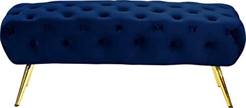 Meridian Furniture Amara Collection Modern Contemporary Navy Velvet Upholstered Bench