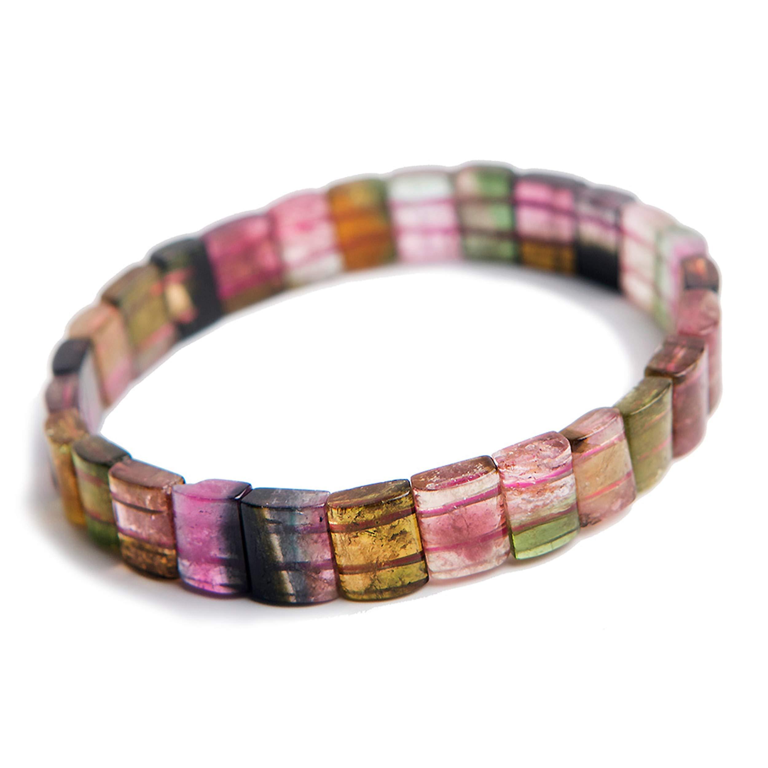 Reikocrystalbeads Genuine Jewelry Bangle Natural Tourmaline Crystal Rectangle Beads Bracelet