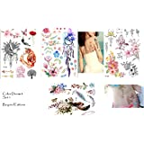 Blumen Wasserfarben Aquarelle Tattoos Flash Tattoos 30 Teilig Set A
