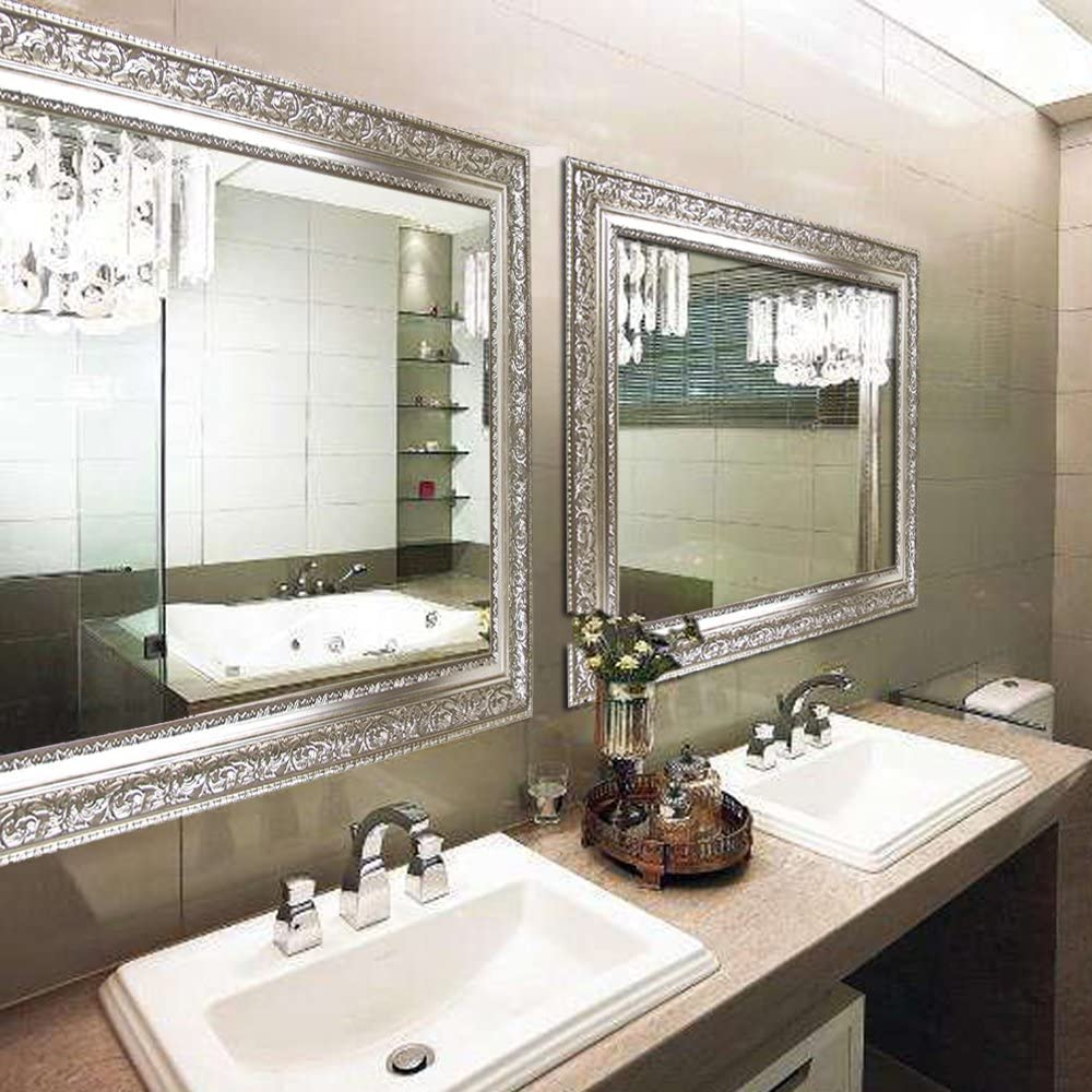 Hooks and Rope Included Bed Room Hans/&Alice Large Silver Vanity Wall-Mounted Mirror 37.5X25.5 Living Room Luxury for Bathroom