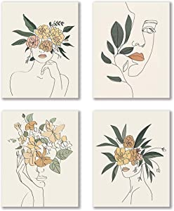 "VOUORON Modern Minimalist Fashion Pop Women Prints Flower Wall Art Painting Set of 4 (8""X10"" Canvas Picture) Pretty Girl Locker Room Queen of Woman Art Poster for Spa Bathroom Home Decor Frameless"