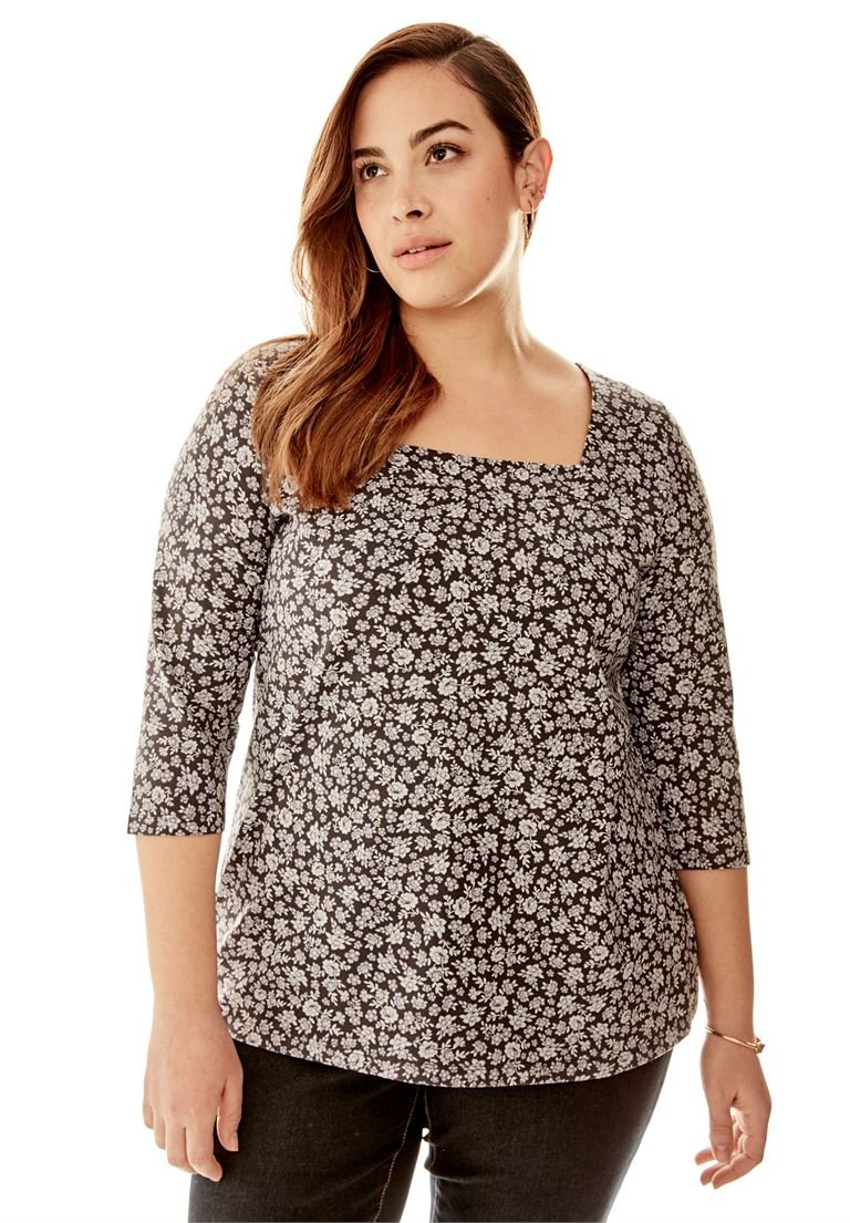 Jessica London Women's Plus Size Tee with Square Neck Orchid Bloom,18/20