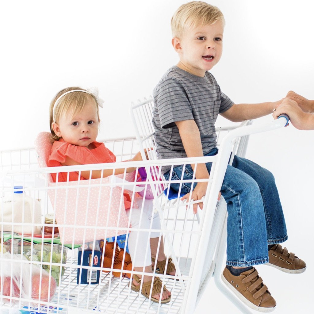 Buggy Bench The Original Shopping Cart Seat (Blush Pink) for Baby, Toddler, Twins, and Triplets (Up to 40 Pounds)