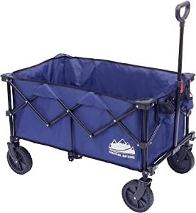 Coastrail Outdoor Collapsible Folding Wagon Utility Garden Cart 180lbs Heavy Duty All Terrain Universal Wheels & Telescoping Handle for Camping Grocery Sports Shopping, Navy Blue