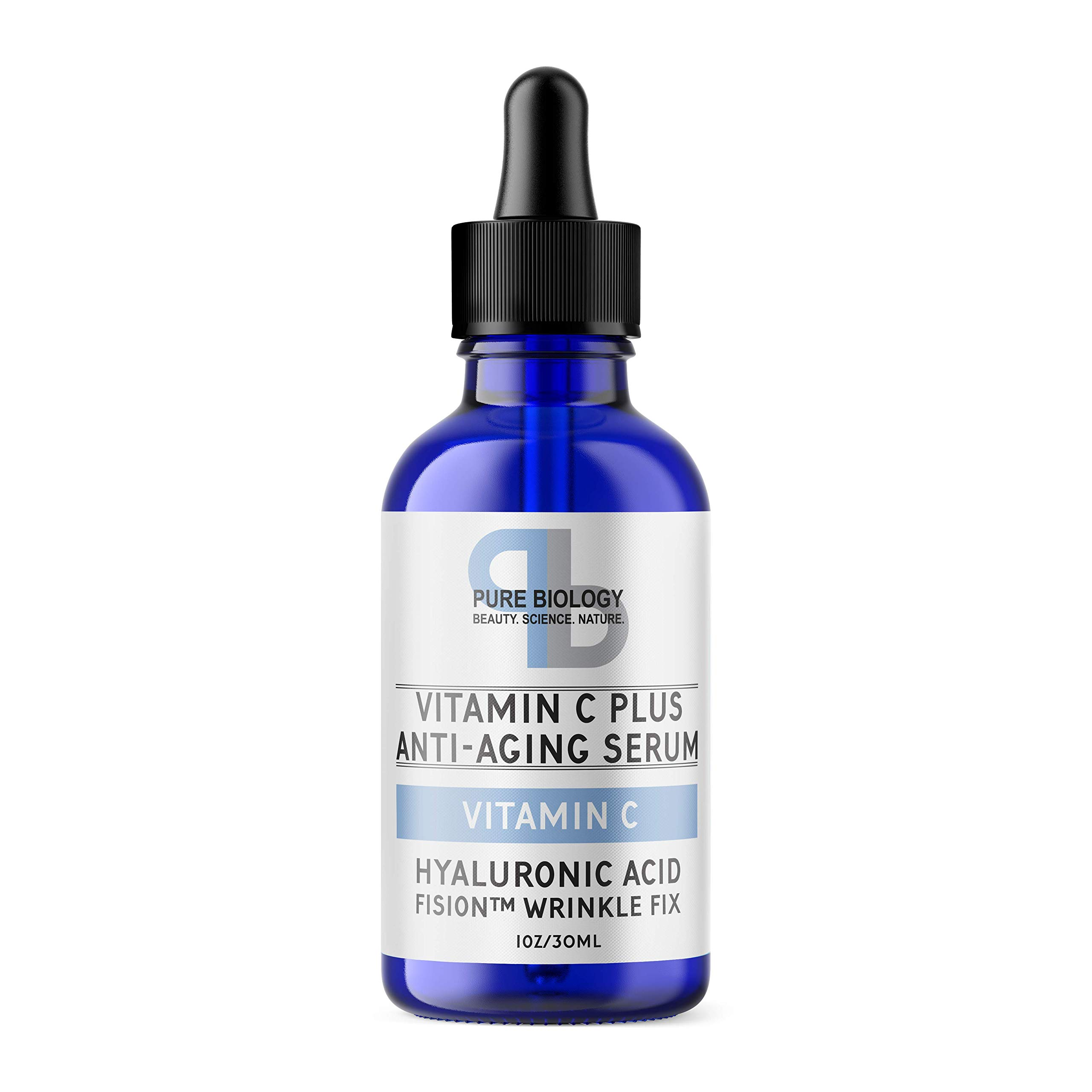 Pure Biology ''C+'' Vitamin C Serum (30%) with Hyaluronic Acid, Witch Hazel, Vitamin E & Breakthrough Anti Aging, Anti Wrinkle Complex - Lighten Dark Spots, Acne Scars - Men & Women by Pure Biology