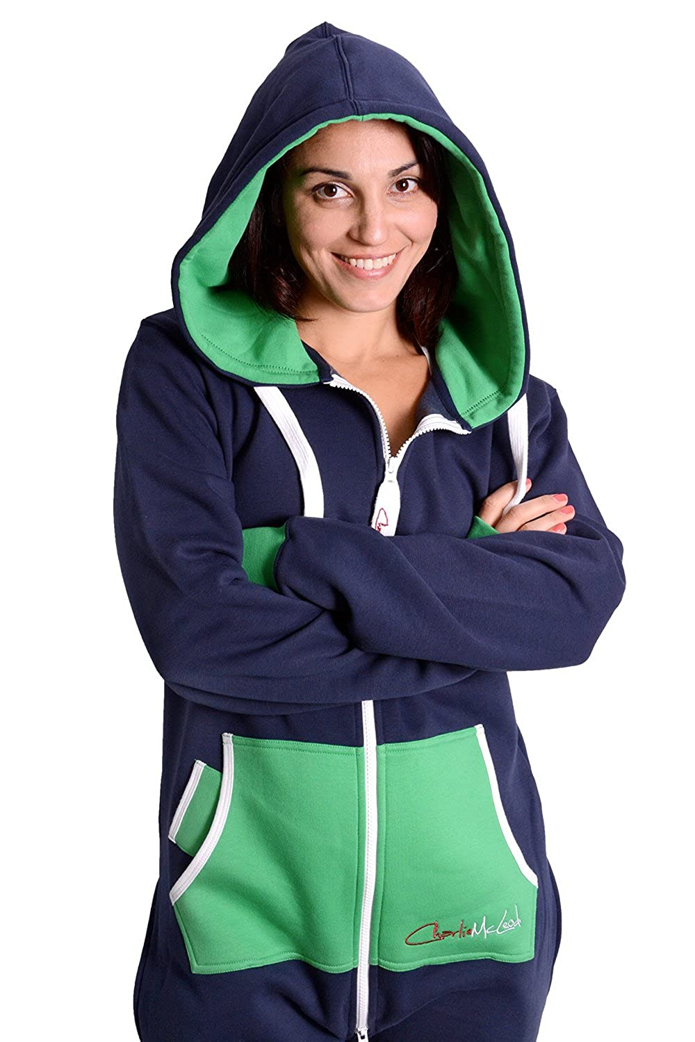 Charlie McLeod The Classic Unisex Onesie in Gorgeous Green The Perfect Adult Onepiece Jumpsuit with Free Matching Bag from