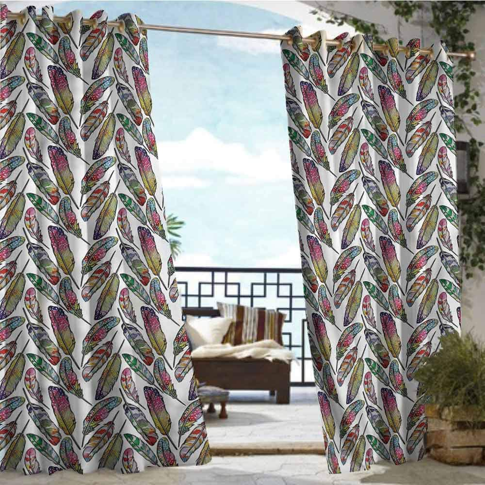 crabee Outdoor Privacy Curtain for Pergola Feather,Boho Vivid Contrast,W72 xL108 for Front Porch Covered Patio Gazebo Dock Beach Home
