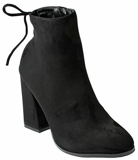 Women GL Almond Toe Fashion Slouch Lace-Up Zip Faux Suede Motorcycle Chunky Heel Ankle Boots