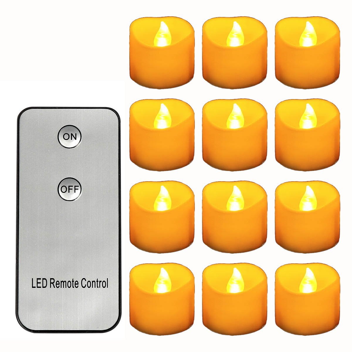 Horeset 12 pcs Yellow Flickering LED with Remote Control Tea Lights Flameless Candle, Last up to 48-60hours 1.4 x 1.4-inch for Wedding, Birthday, Home Party