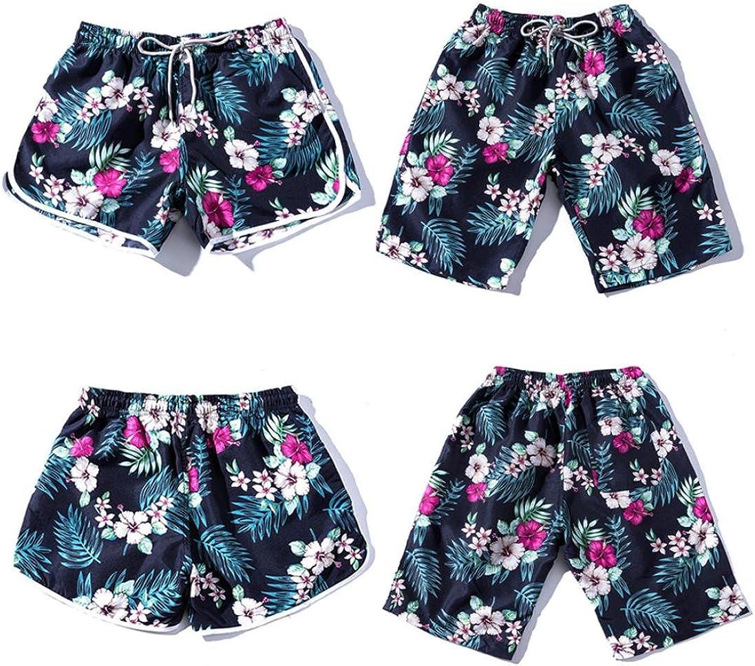 Jushye Summer Beach Short Men Women Couples Floral Bohe Swim Shorts Plus Size Pants