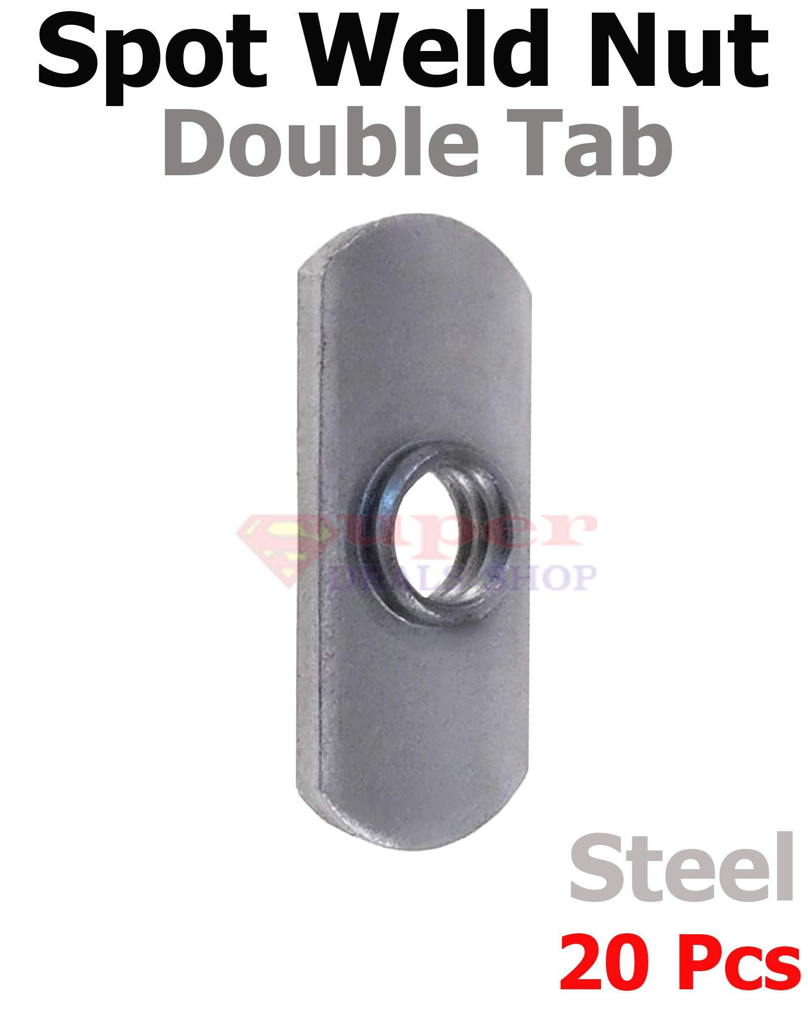 20 Pcs 3/8-16 Low-Carbon Steel Spot Double Tab Weld Nut Center Hole Slot Fastener Super-Deals-Shop