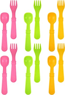 product image for RE-PLAY MADE IN THE USA 12pk Fork and Spoon Utensil Set for Easy Baby, Toddler, and Child Feeding in Bright Pink, Lime Green and Sunny Yellow | Made from Eco Friendly RECYCLED Milk Jugs | (Pink Asst.)