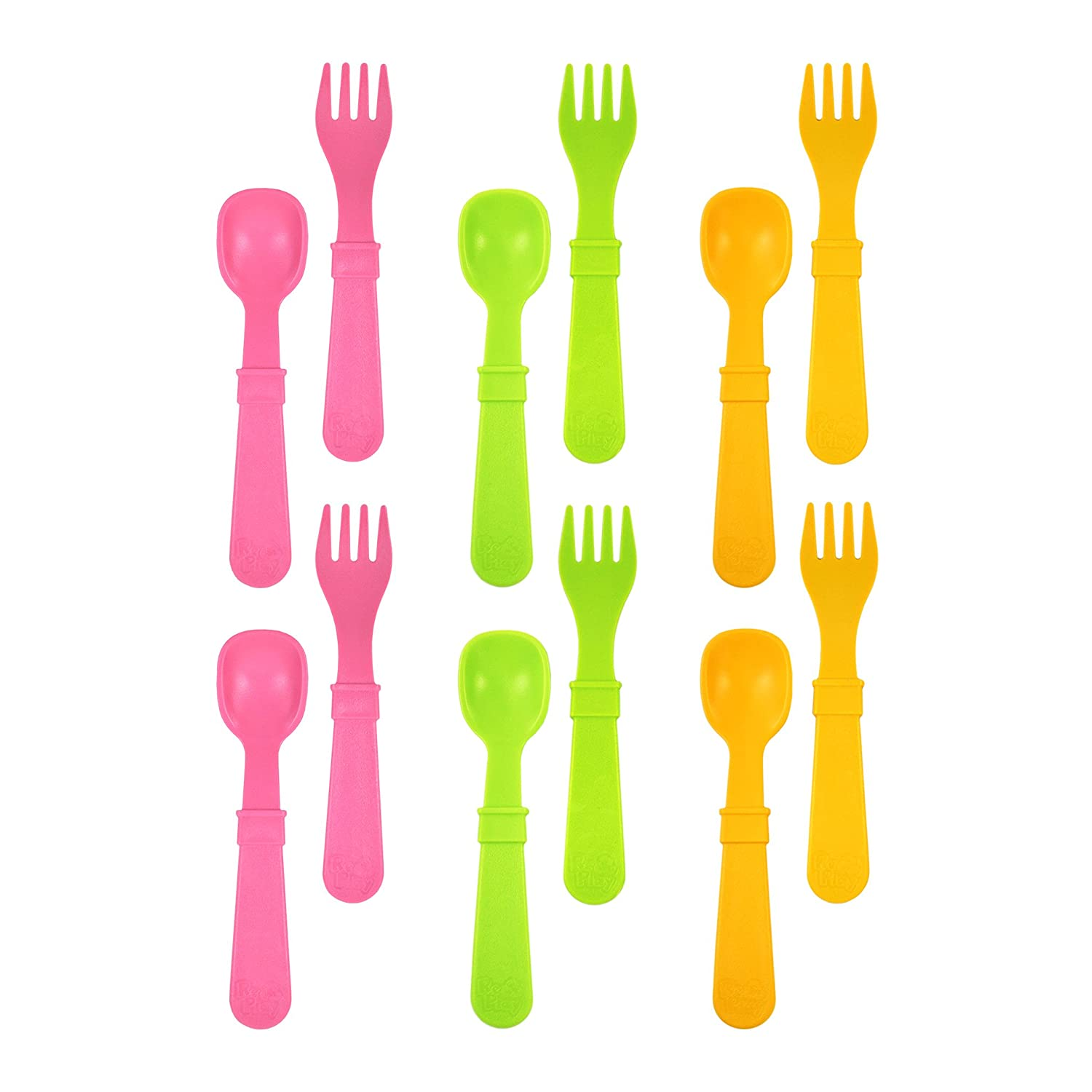 Baby Pink Bright Pink Purple Toddler Princess Child Feeding 6 Spoons//6 Forks Re-Play Made in USA 12pk Toddler Feeding Utensils Spoon and Fork Set for Easy Baby