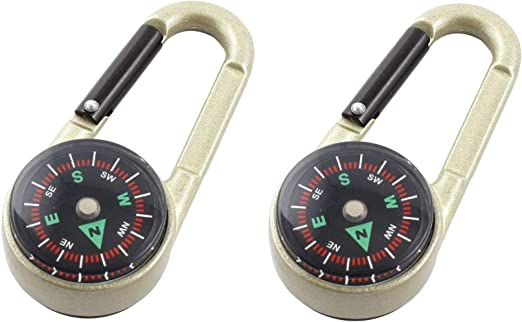 3-in-1 Multi Function Hiking Steel Carabiner Mini Compass Thermometer Keychain