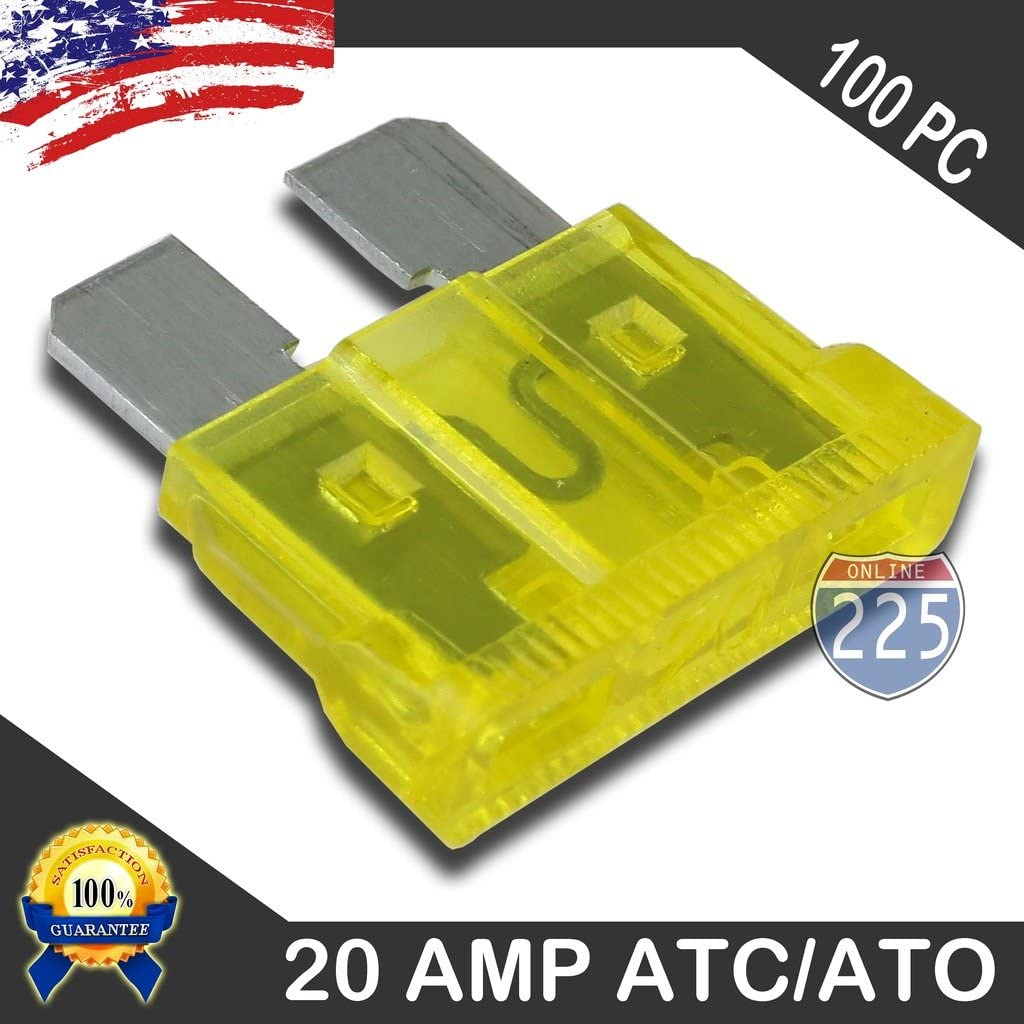 25 Pack 20 Amp ATC ATO Blade Fuse Auto Car Boat Marine Truck Motorcycle 20A