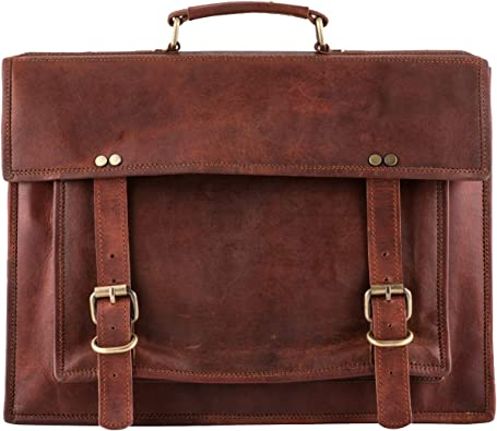 New Men Real Goat Leather Vintage Brown Messenger Shoulder Laptop Bag Briefcase
