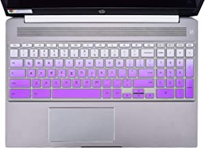 "HP Chromebook 15.6"" Keyboard Cover Skins Compatible with 2020 New HP Chromebook 15.6-Inch Laptop 15-de0010nr 15-de0517wm 15-de0523dx(Ombre Purple)"