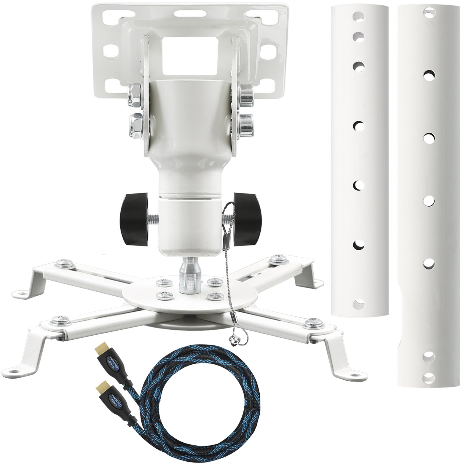 Cheetah Mounts APMFW Universal Projector Ceiling Mount. Includes an Adjustable Extension Pole and Twisted Veins 15'' HDMI Cable