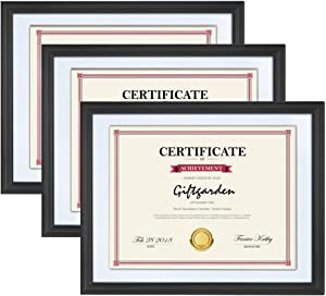 Giftgarden 8.5x11 Picture Frames with White Mats 3-Pack, Diploma Certificate Document Award Frame Decor of Wall Mounting, Black