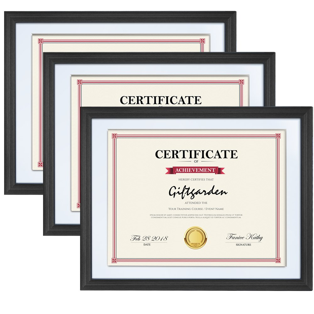 Giftgarden Certificate Diploma Document Frame 8.5 x 11 Picture Frames with Mat,Wall Mounting, Black, 3 pcs