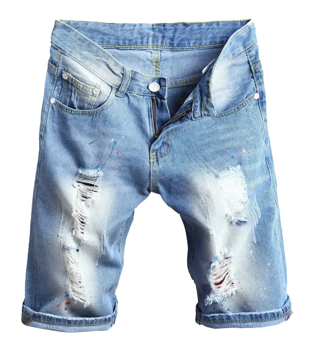 Betusline Mens Casual Summer Painted Ripped Holes Denim Jeans Shorts Blue,36