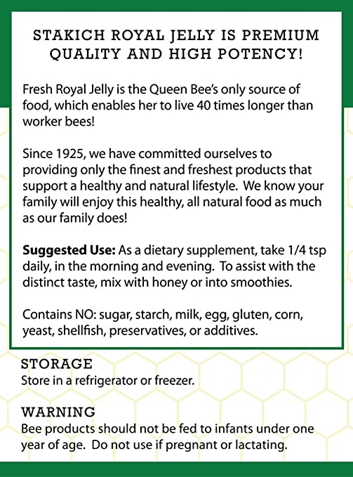 Amazon.com: stakich Fresh Royal Jelly – 100% pura, All ...