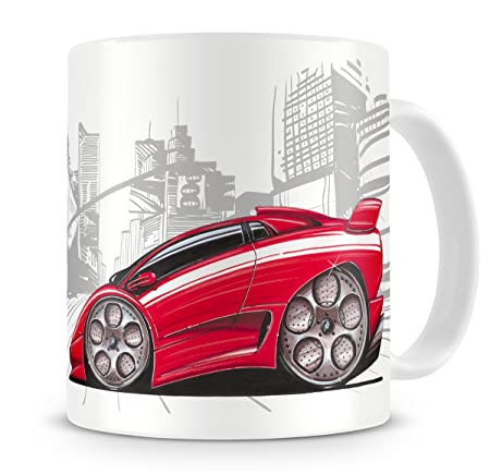 Koolart Cartoon Caricature Of Lamborghini Diablo Sv Red Coffee Mug