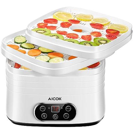 Deshidratador de Alimentos 【2019 Último modelo】 Deshidratador, Temporizador de hasta 72 hy con 5 Bandejas Extraíbles, Regulador de Temperatura de ...