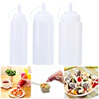 Aolvo Plastic Squeeze Condiment Bottles Set of 3 Pack(8 Oz 12 Oz 16 Oz) With Cap For Syrup Sauce Ketchup BBQ Dressing Arts Craft Workshop Storage,Multi Purpose