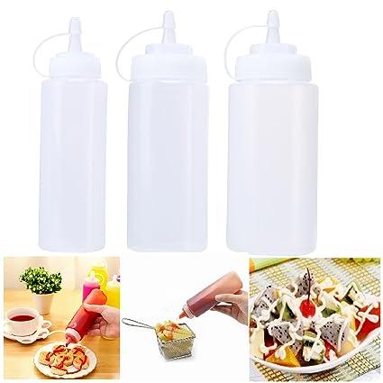 AOLVO - Juego de 3 Botellas de plástico para condimentos de Salsa de Salsa de Salsas