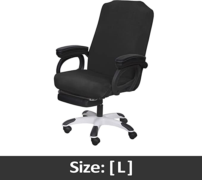SARAFLORA Office Chair Covers Stretch Black Washable Computer Chair Slipcovers for Universal Rotating Boss Chair Large Size