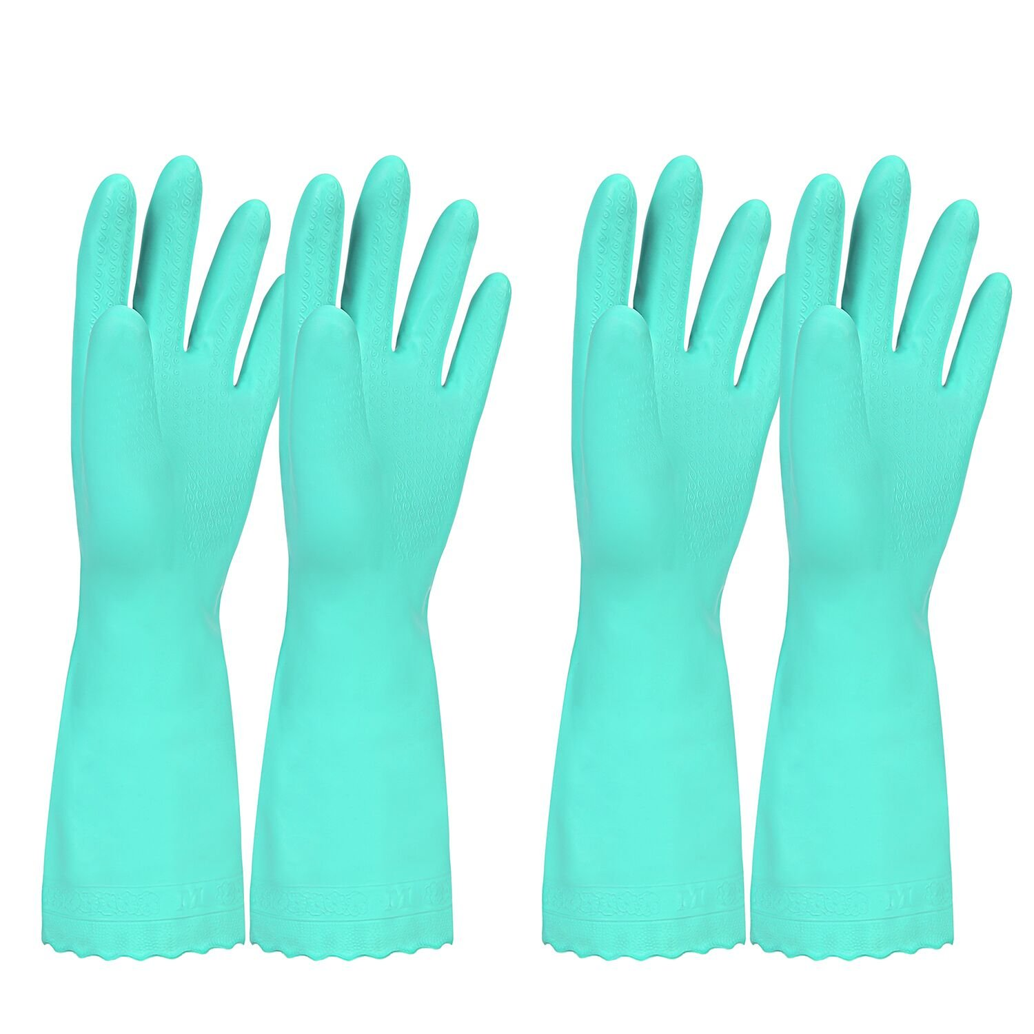 Elgood Household Gloves,Latex Free Vinyl Cotton Lining Non- Slip Swirl Grip Gloves for Kithen Dishwashing Laundry Cleaning 2 Pairs (L, blue+blue)