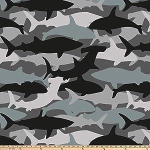 David Textiles Shark Camo Blizzard Fleece 60'' Grey Fabric