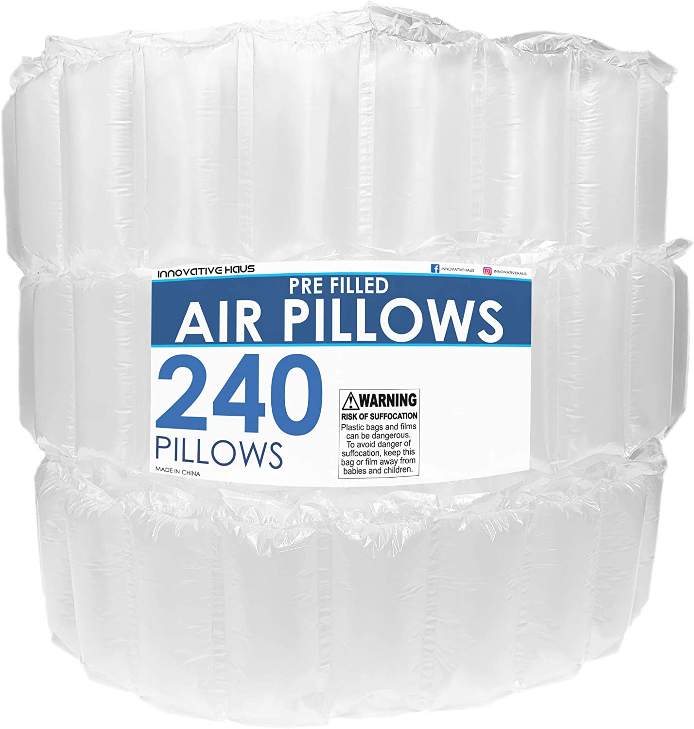 Innovative Haus 240 Count 4x8 Air Pillows for Filling Void in Package and Paper. Eco Friendly Cushioning Stuffer for Shipping and Packaging Great Packing Supplies Alternative to Peanuts Foam