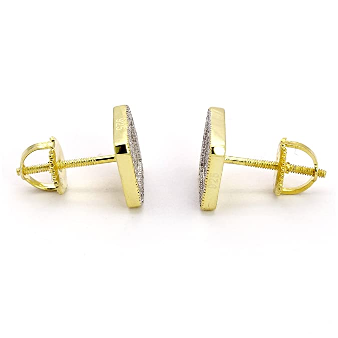 37ebc6e37 Amazon.com: New HQ Gold Plated .925 Sterling Silver 8mm Double Square Screw  Back Earrings: Jewelry