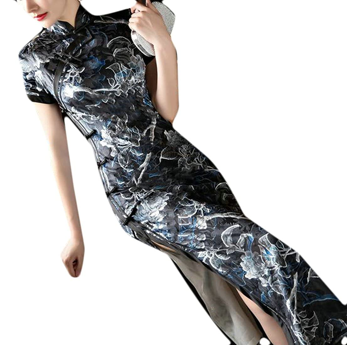 Black Yayun Yayu Womens Floral Printed Sheath Cheongsam Slim Long Qipao Dress