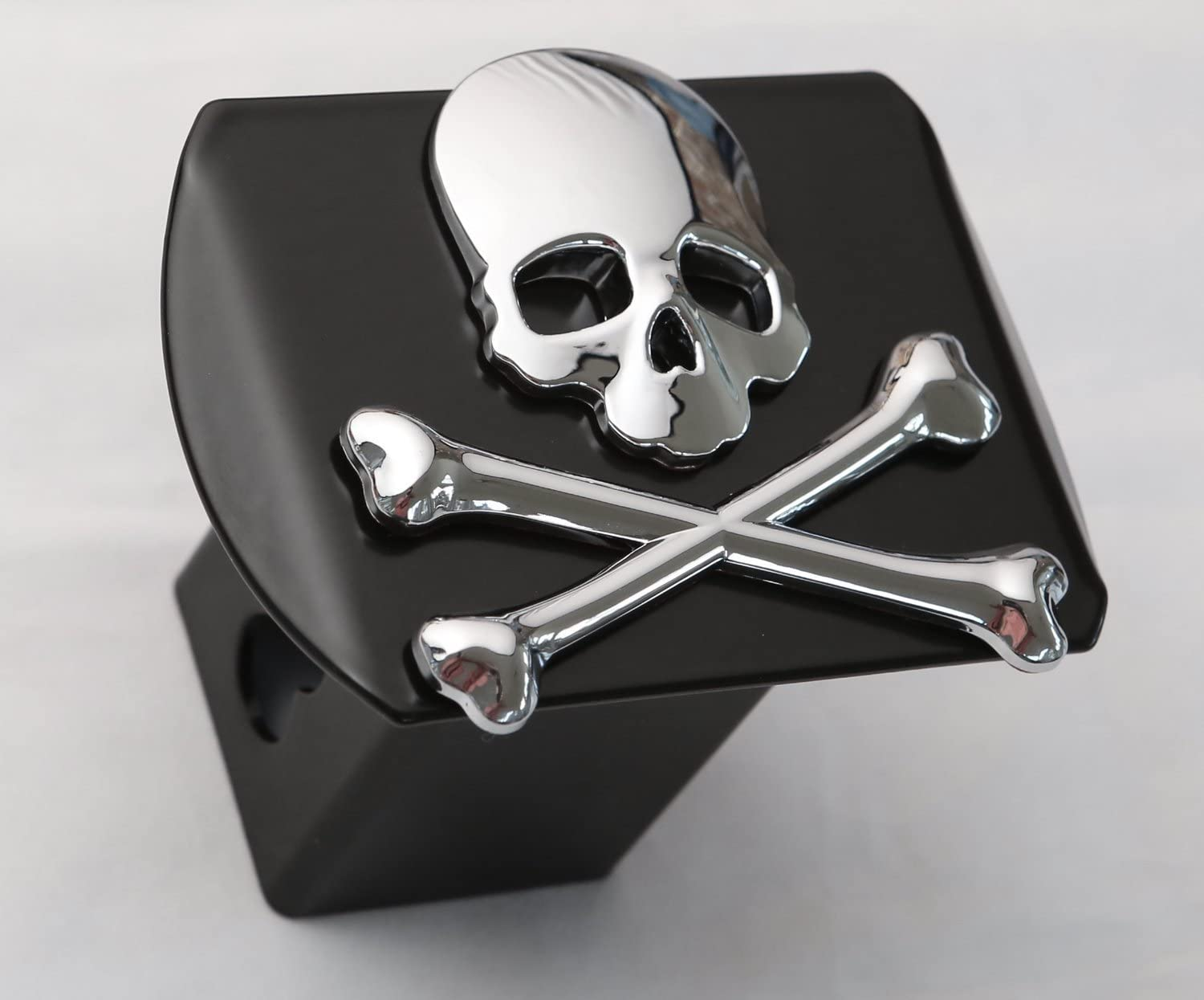 Chrome on Black LFPartS 100/% Metal Skull 3D Emblem Trailer Hitch Cover Fits 2 Receivers