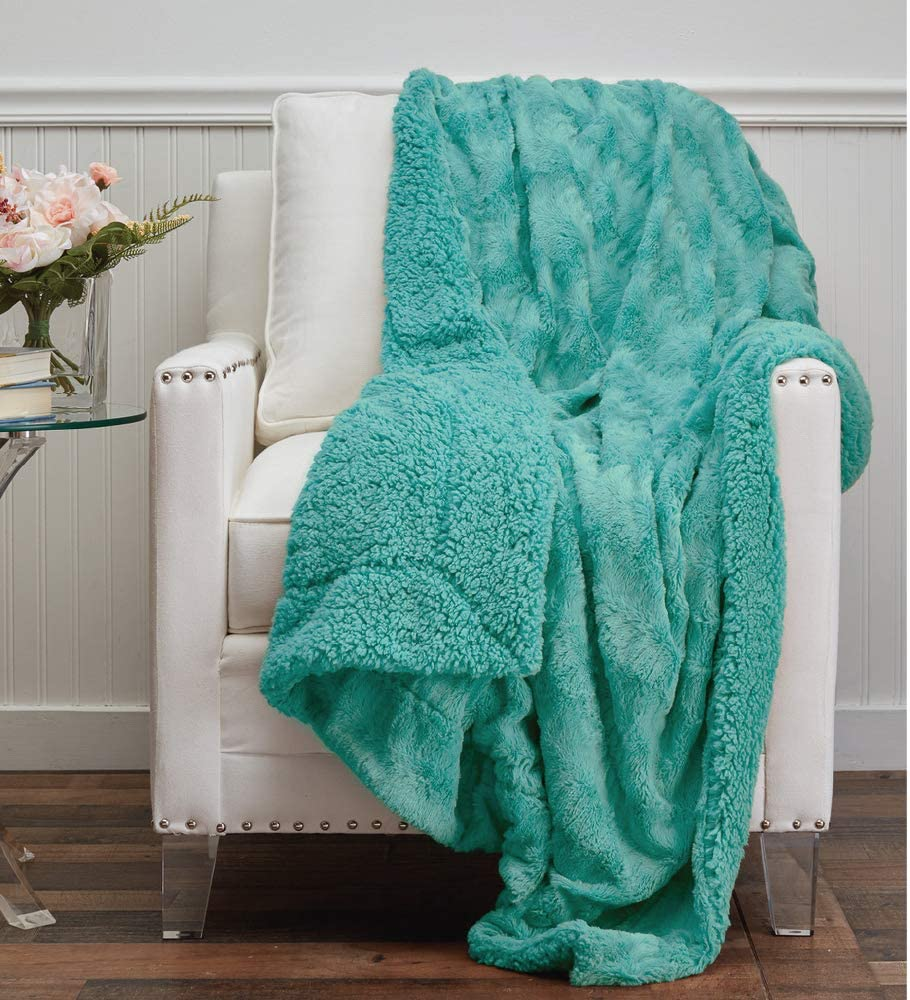 The Connecticut Home Company Faux Fur with Sherpa Reversible Throw Blanket, Many Colors, Super Soft, Large Plush Luxury Blankets, Warm Hypoallergenic Washable Couch or Bed Throws, 65x50, Turquoise