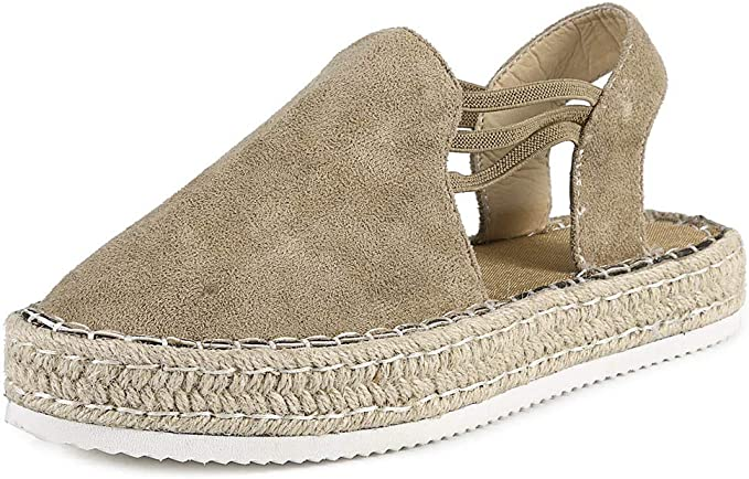 Dasuy Women Espadrille Flat Sandals Platform Wedges Closed Toe Sandals Flat Driving Loafers Comfortable Walking Shoes