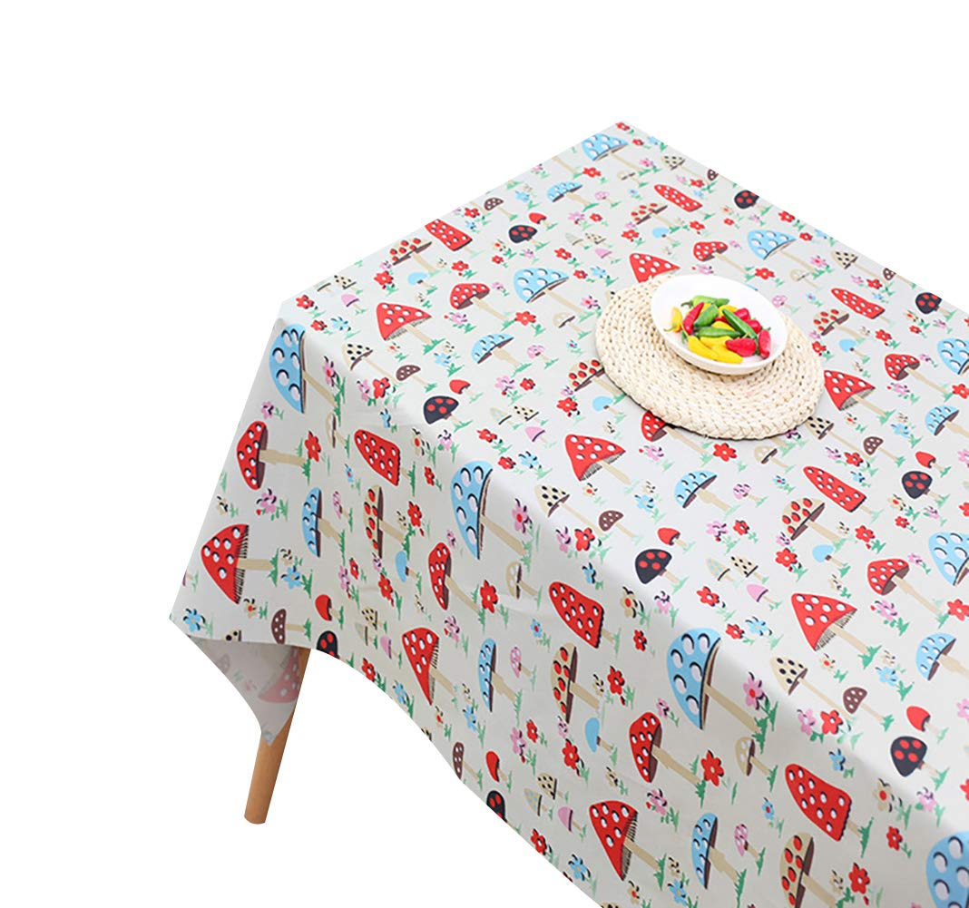 160Cm ROUSIER/®Tablecloth Mushroom European Style Sleep Polyester Tablecloth for Kitchen Rectangular Tablecloth Stain Dust Proof Cloth Decorative for Dinning Table Party Size Is 130