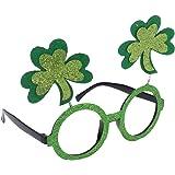 LUOEM Día de San Patricio Glitter Shamrock Glasses Accesorio traje Parte favor