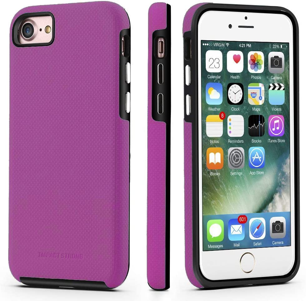 ImpactStrong iPhone SE 2020 Case, iPhone 7/8 Case, Dual Guard Protection Shock-Absorbing Scratch-Resistant Protective Cover for Apple iPhone SE 2020, iPhone 7 and iPhone 8 - Purple